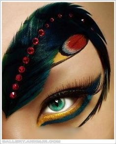Cool feather and crystal enhanced eye make-up.