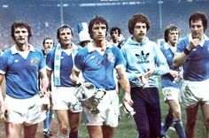 Dave Watson and team-mates parade the League Cup in 1976.