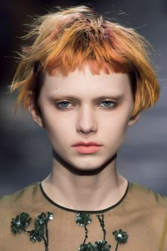Short bangs, short crop hair
