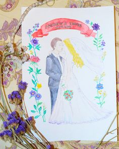 Сustom portrait, Custom Wedding portrait, Custom Watercolor portrait, Personalized portrait, Couple Illustration, Wedding art, invitations by GiftArtstatus on Etsy