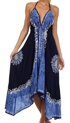 c226099cd4de Sakkas 7541 Serenity Embroidered Batik Dress - Navy   Blue - One Size  Selena Dresses