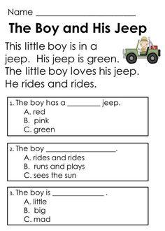 Comprehension Worksheets For Kindergarten Kindergarten 2nd Grade Reading Comprehension, Reading Fluency, Guided Reading, Teaching Reading, Reading Activities, 2nd Grade Reading Passages, Free Reading Comprehension Worksheets, Comprehension Exercises, Reading Groups