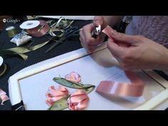 Wonderful Ribbon Embroidery Flowers by Hand Ideas. Enchanting Ribbon Embroidery Flowers by Hand Ideas. Hand Embroidery Videos, Hand Embroidery Stitches, Crewel Embroidery, Hand Embroidery Designs, Embroidery Techniques, Satin Ribbon Flowers, Ribbon Art, Diy Ribbon, Ribbon Crafts