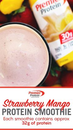 Take a blend break and try our refreshing Strawberry Mango Smoothie! Start off with 1 Premier Protein Bananas & Cream Shake, 1 frozen banana, 1 cup of frozen mangos, cup of frozen strawberries and blend until smooth to enjoy! Even better? Protein Smoothie Recipes, Smoothie Drinks, Protein Foods, Healthy Smoothies, Healthy Drinks, Healthy Snacks, Healthy Eating, Healthy Recipes, Drink Recipes