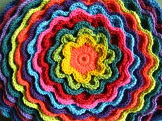 rainbow flower potholder