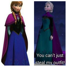 So thats where elsa's coronation outfit went. Anna and elsa from frozen wearing same outfit