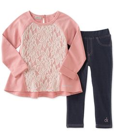 Calvin Klein Little Girls' 2-Pc. Lace-Panel Tunic & Jeggings Set