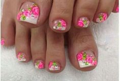 Pink Nail Designs- it would've been prettier if the design was only on the big toe but it's still very pretty. Pretty Pedicures, Pretty Toe Nails, Cute Toe Nails, Pretty Toes, Cute Pedicure Designs, Pink Nail Designs, Beautiful Nail Designs, Pedicure Nail Art, Toe Nail Art
