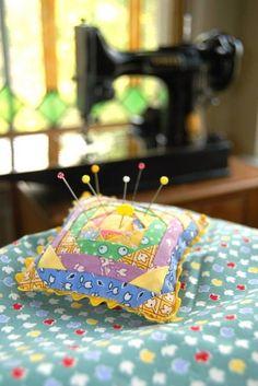 30's fabrics pincushion.