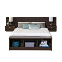 This King size Floating Headboard with Nightstands in Espresso with nightstands maximizes your available floor space with it's elevated, off the floor design. With a focus on simplicity and functional storage, this unit creates a modern and Floating Bed Frame, Floating Headboard, Headboard With Shelves, Floating Wall, Bed Frame Design, Bed Design, Bedroom Furniture, Bedroom Decor, Bedroom Ideas