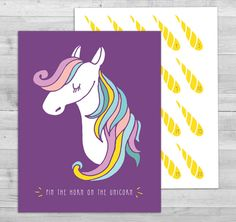 Pin The Horn On Unicorn Game Party By WLAZdesignSHOP