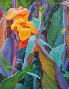 "Contemporary Painting - ""Orange Canna"" (Original Art from Contemporary Still Life Art by Lisa Ernst)"