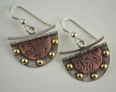 Slender Copper Earrings Leaf Earrings by DeborahCloseDesigns
