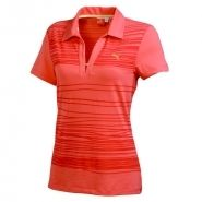 Puma Line Print Womens Golf Polo Desert Flower Hot Coral