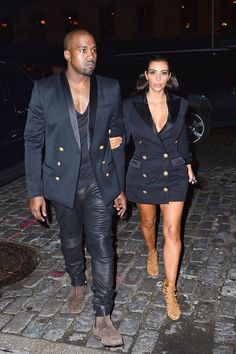 Kanye and Kim arrive to Soho House New York on Nov. 6, 2014, in New York City.