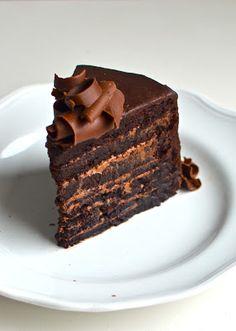 A slice of fudge mountain chocolate cake