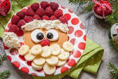 christmas santa pancake with raspberry and banana for kid breakfast