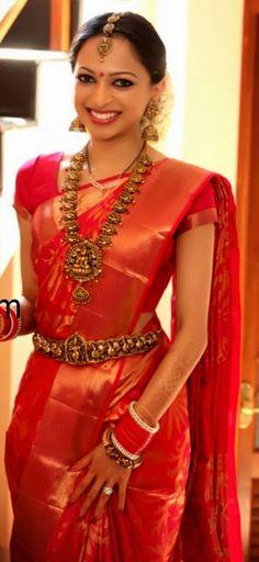 Red Bridal KAnjeevaram Saree and Temple jewallary