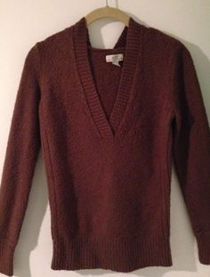 SO... Ladies L Long Sleeve Brown V-Neck Casual Hooded Sweater #SO #Hooded $12.99 @Ebay