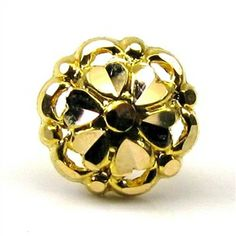 Indian Style Fancy Design Body Piercing Nose stud Pin Solid Real 14k Yellow Gold