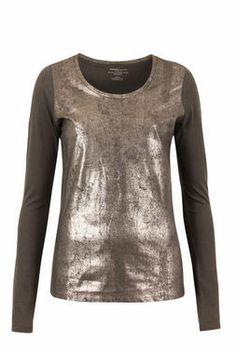 Langarmshirt mit Metallic-Beschichtung