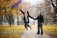 Fall Rainy Day Engagment Photos in Fond du Lac Wisconsin