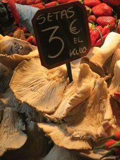 Giant mushrooms at the Atarizanas central market in Malaga, Spain.