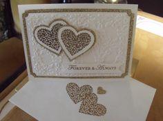 Nice gold double heart wedding card!