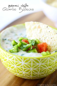 Ooey gooey white queso with green chiles, peppers, and kickin' spices! Ready in just 15 minutes!