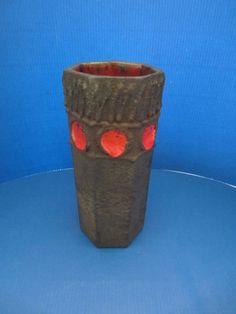 Rare Marei 51/3 Keramik  Vase WPG Vintage Fat Lava 19 cm black/red