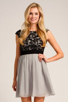 Grey & Black Lace Overlay Drop Sleeve Prom Dress