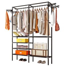 porte manteau kledingrek perchero de pie Anmas home Clothes Hanger Coat Rack Floor Hanger Storage Wardrobe Clothing Drying Racks Closet Shelves, Closet Storage, Closet Organization, Storage Shelves, Storage Spaces, Wardrobe Organiser, Clothes Drying Racks, Clothes Rail, Hanging Clothes