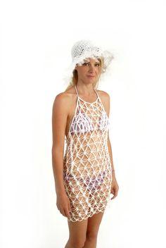 cubierta de rejilla del ganchillo playa malla vestido vestido uperotic por kikapaca