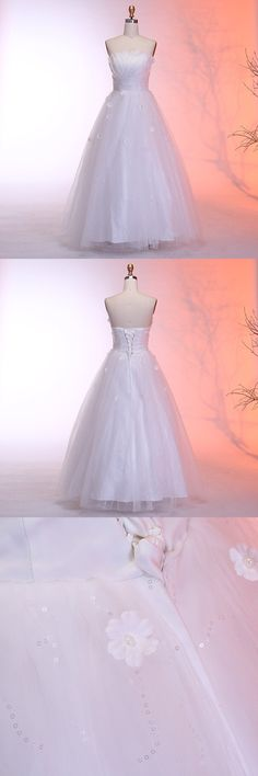 elegant strapless wedding dresses with appliques, affordable bridal gowns with sequines, dream lace up tulle wedding dresses