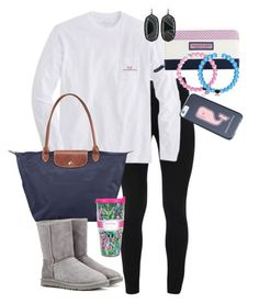 """Still preppy in the cold weather :)"" by mckinley02 ❤ liked on Polyvore featuring Peace of Cloth, Vineyard Vines, Kendra Scott, Longchamp, Lilly Pulitzer and UGG Australia"