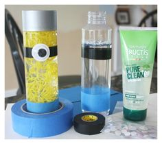 How to make a minion sensory bottle with gel and loom bands