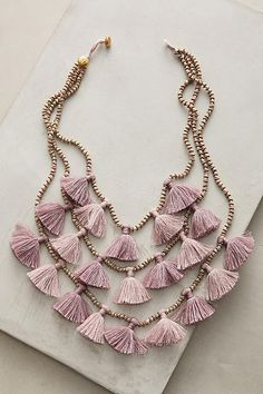 layered bib tassel necklace in lilac