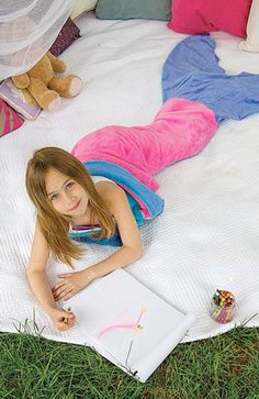 Mermaid Blanket by Blankie Tails - Pink & Periwinkle (Child/Youth 3-12 Years Old) - Blankie Tails - 1
