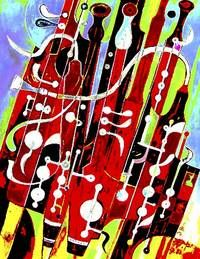 Picasso bassoon. Cool office decor!