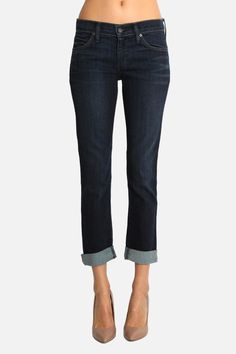 """Slouchy Fit Boyfriend Customer Favorite: A beautifully worn-in vintage blue, Neo Beau in Gossip is as comfortable as your boyfriend's jeans but unmistakably tailored for a woman. Enjoy a cavalier, relaxed fit with textural whiskers in a perfect weekend blue.    Rise: 8 1/4"""" Hem: 13""""   Neo Beau by James Jeans. Clothing - Bottoms - Jeans & Denim - Straight Michigan"""