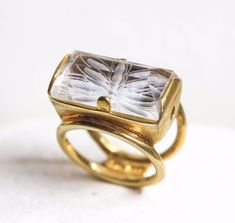 intaglio flower big quartz sterling silver gold plated ring, Greek jewelry #Statement #Engagement