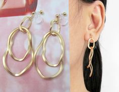 Clipons, Wave Satin Matte Gold Hoop Clip on Dangle Earrings D18G Modernist Clip on Drop Earrings Clip on Earrings Non Pierced Dangle Earings