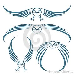 Flying owls tattoo by via Dreamstime Love Tattoos, New Tattoos, Tribal Tattoos, I Tattoo, Tatoos, Bird Stencil, Tattoo Addiction, To Infinity And Beyond, Silhouette Art