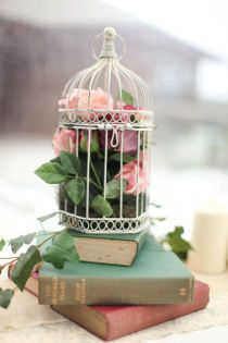 Books & birdcages.  Such a cool idea