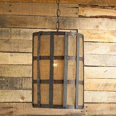 Medieval Caged Burlap Cylinder Pendant  Shades of Light