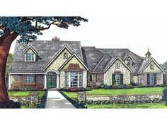 The Langer Country Ranch Farmhouse has 3 bedrooms, 2 full baths and 1 half bath. See amenities for Plan 036D-0110.