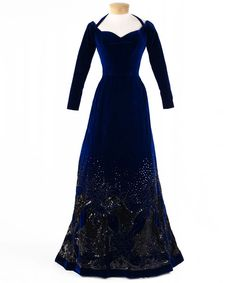 -Dark blue velvet evening dress with black sequin decoration at hem; <3 tottally in love with!