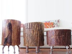 Don't these guys look like they might walk about like little robots? They are tree trunk tables made in Canada. not available for delivery outside Canada and US.  Boo hoo. But it gives me inspiration.