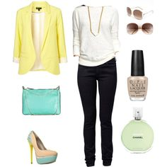 Love everything ab this outfit...the shoes are amaze & the yellow blazer is haute!