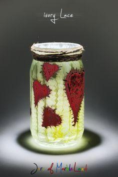 Jars of Marbleland- Ivory Lace painted effect on Mason Jar Diy Candle Holders, Diy Candles, Lace Jars, Lace Painting, Paint Effects, Mason Jars, Glow, Ivory, Vase